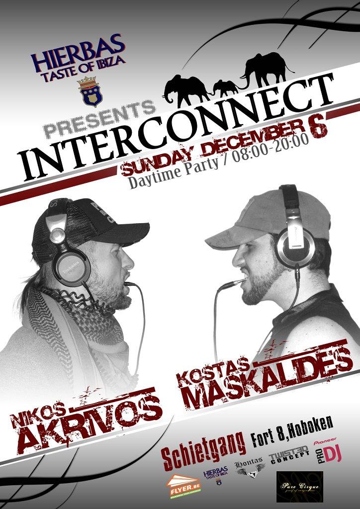 Interconnect with Nikos Akrivos & Kostas Maskalides - Flyer front
