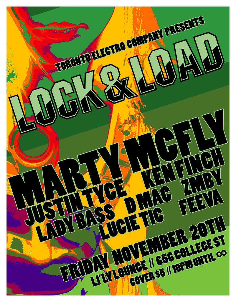 T.E.C presents Lock & Load feat. Marty Mcfly, Ken Finch, Lady Bass - Flyer front