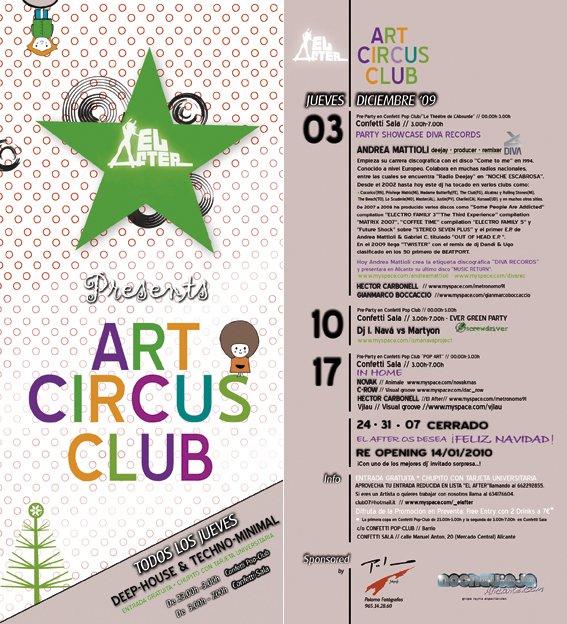 El After present Art Circus Club - Flyer front