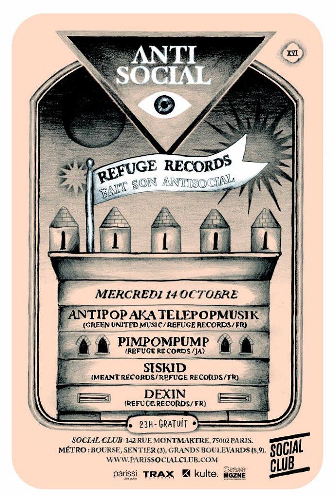 Refuge Records Fait Son Antisocial - Flyer front