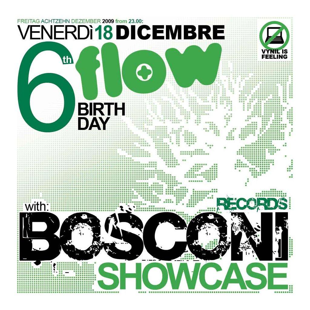 Bosconi Showcase at 6th Flow Birthday - Flyer front