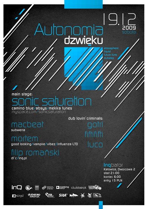 Autonomia Dzwieku - Sonic Saturation/macbeat/mortem/dlc - Flyer front