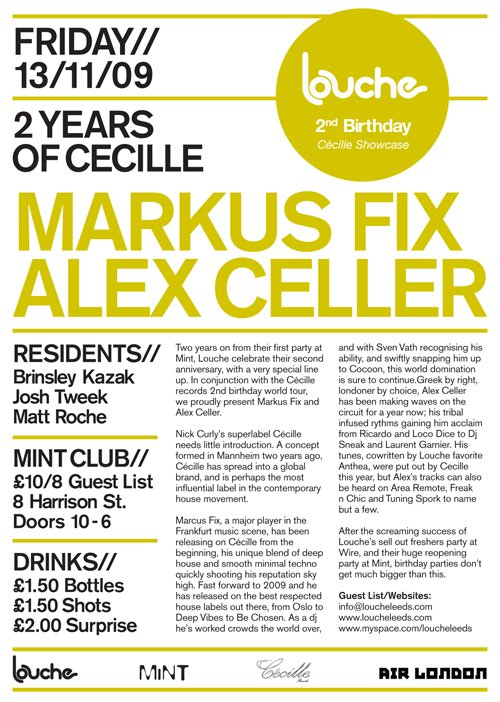 Louche 2nd Birthday - 2 Years Of Cécille with Markus Fix & Alex Celler - Flyer back