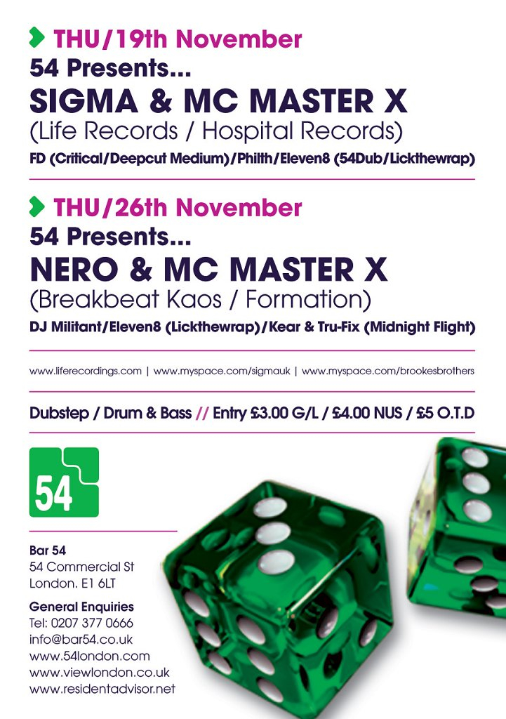 '54 presents' with Nero - Flyer back