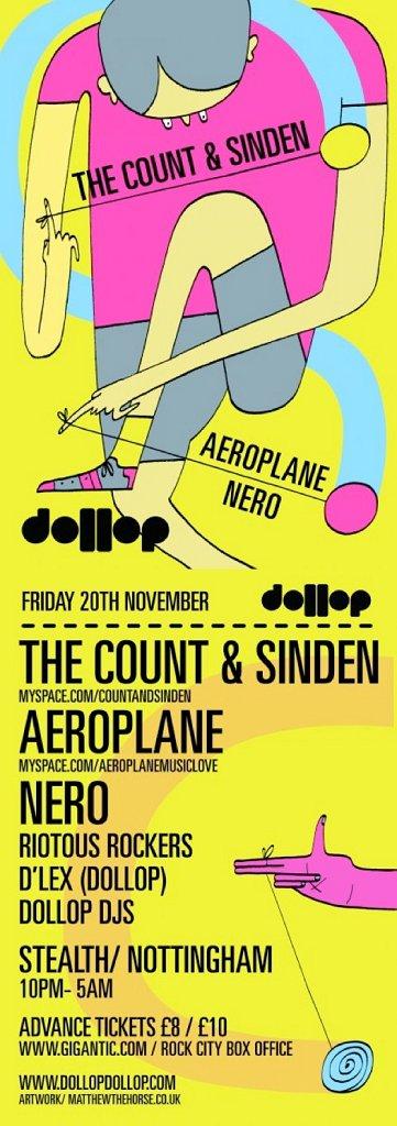 Dollop Aeroplane, The Count & Sinden, Nero - Flyer front