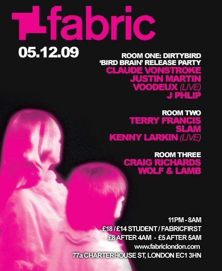 Fabric: Dirtybird 'bird Brain' Release Party, Claude Vonstroke - Flyer front