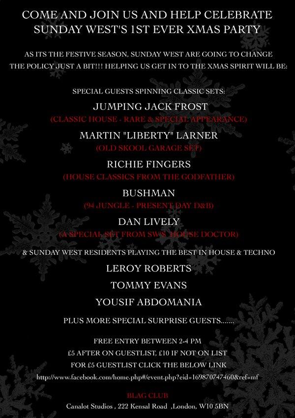 Sunday West Christmas Party - Flyer back