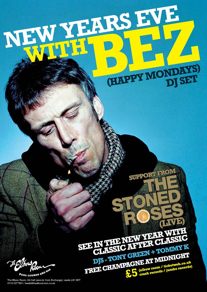 New Years Eve with Bez and The Stoned Roses - Flyer front