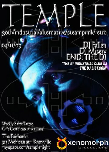 End: The Dj at Temple - Flyer front