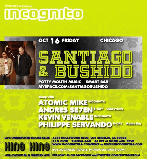 Incognito presents Santiago & Bushido - Flyer front