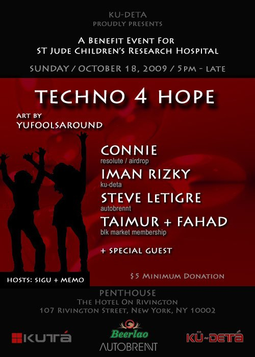 Techno 4 Hope - Flyer front