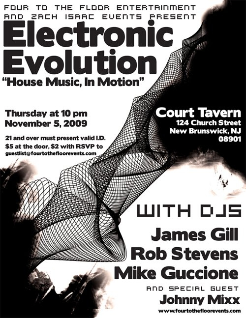 Electronic Evolution: James Gill, Rob Stevens, Mike Guccione - Flyer front