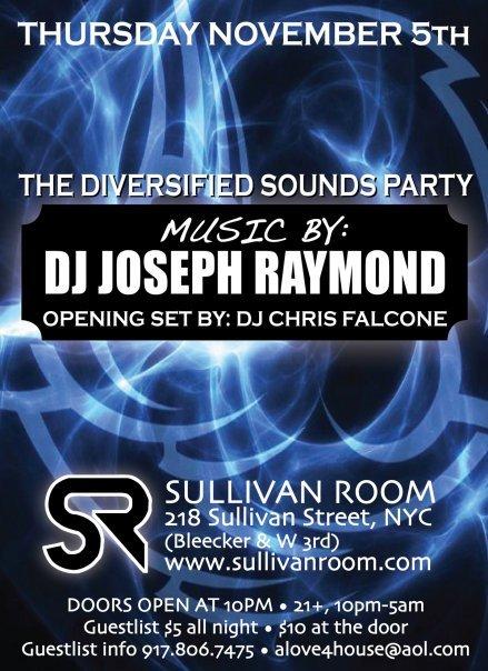 Sullivan Room presents Dj Joseph Raymond - Flyer front