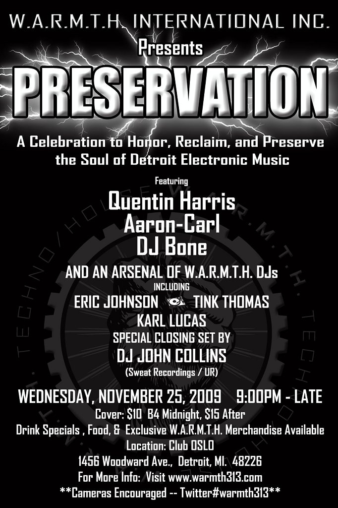 W.A.R.M.T.H. International Inc. presents Preversation: A Celebration To Honor, Reclaim & Preserve The Soul Of Detroit Electronic Music - Flyer front