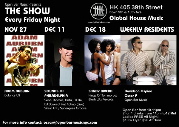 Open Bar presents The Show - Flyer front