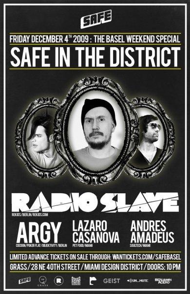 Safe presents Radio Slave: Miami Art Basel Weekend - Flyer front