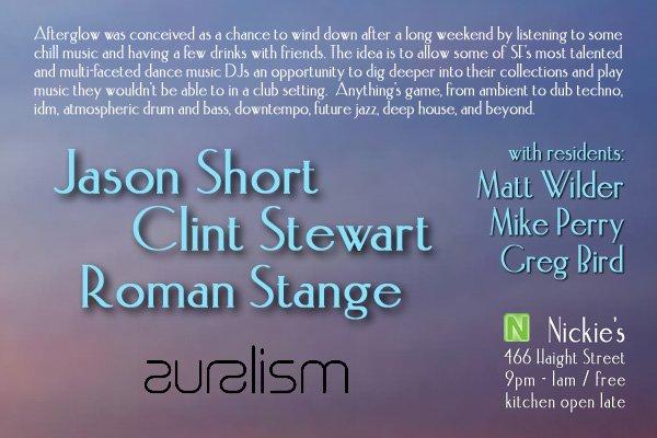 Afterglow with Auralism's Jason Short, Clint Stewart and Roman Stange - Flyer back