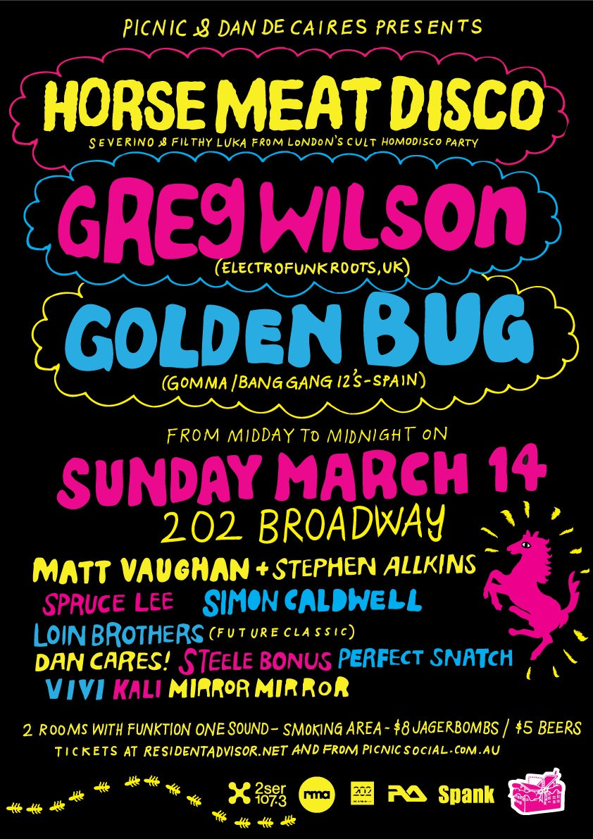 Picnic and Dan Cares presents Horse Meat Disco, Greg Wilson & Golden Bug - Live - Flyer front