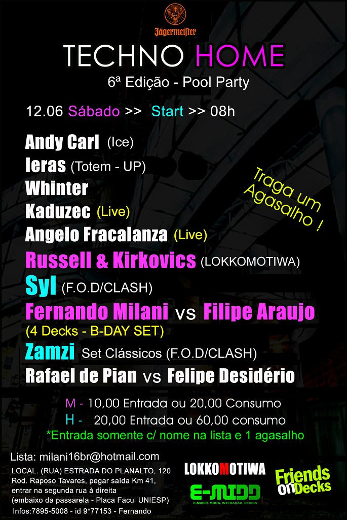Techno Home - Pool Party - Flyer back