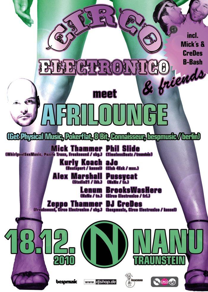 Circo Electronico & Friends Meet Afrilounge - Flyer front