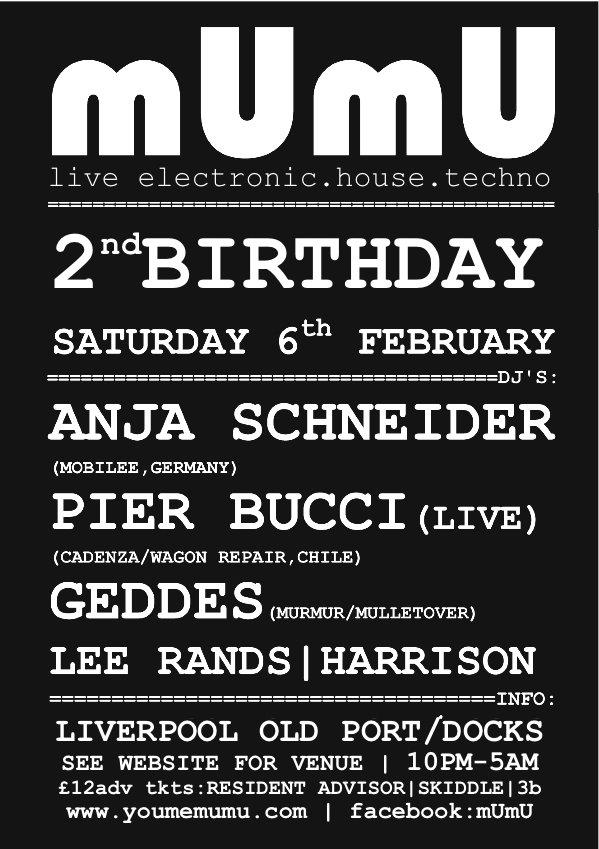 Mumu 2nd Birthday Liverpool: Anja Schneider & Pier Bucci - Live - Flyer front