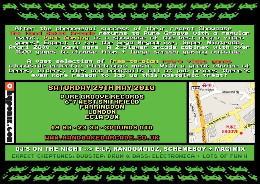 Hand Baked Arcade presents Pure Gaming - Flyer back