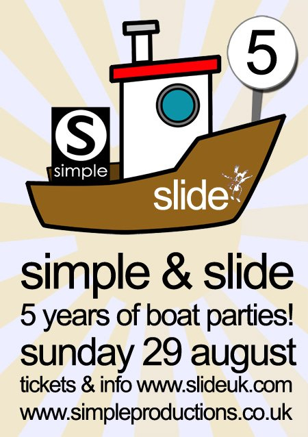Slide & Simple - 5 Years Of Boat Parties - Flyer front