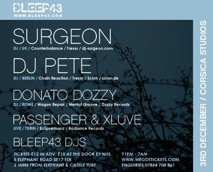 Bleep43 - Surgeon & Dj Pete, Donato Dozzy and More - Flyer front