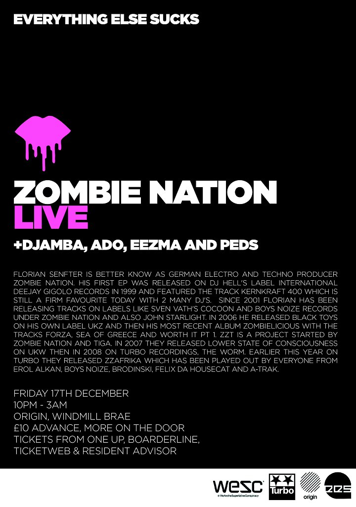 Everything Else Sucks presents Zombie Nation - Live - Flyer front