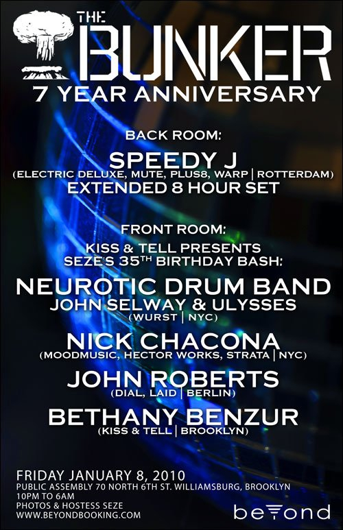 The Bunker 7 Year Anniversary with Speedy J, John Roberts, Ndb - Flyer front