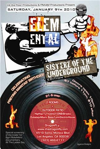 Elemental: Sisterz Of The Underground Edition - Flyer front