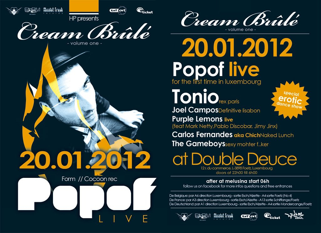 Popof Live For The First Time In Luxembourg - Flyer front