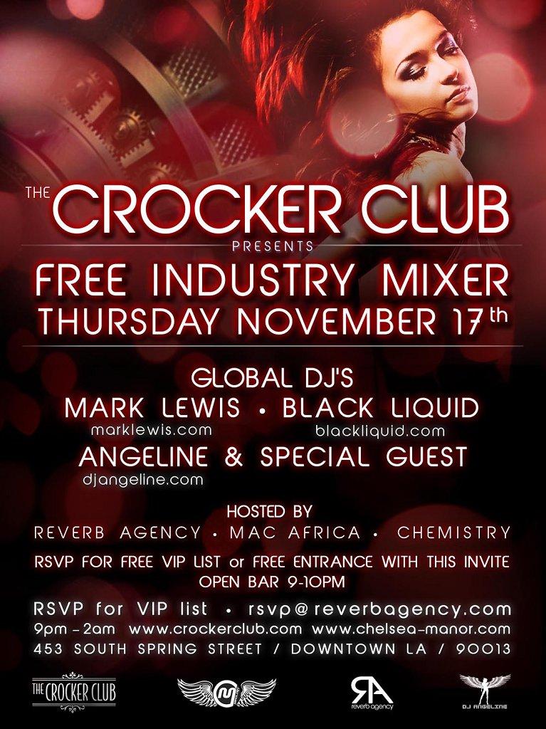 The Crocker Club presents The Vault - Free Industry Mixer - Flyer front