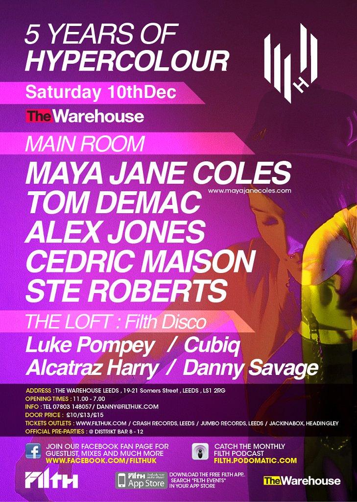 Hypercolour Showcase - Maya Jane Coles, Tom Demac and Alex Jones - Flyer back