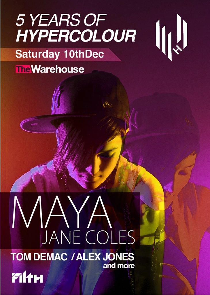 Hypercolour Showcase - Maya Jane Coles, Tom Demac and Alex Jones - Flyer front