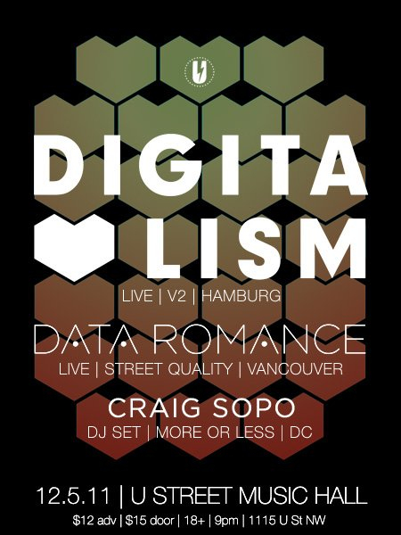 Digitalism and Data Romance Live - Flyer front