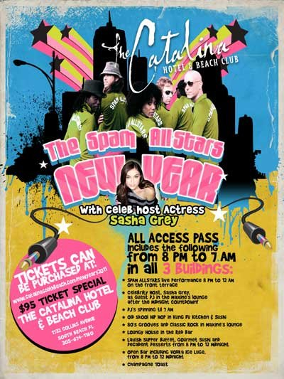 The Spam All Stars New Years - Flyer front