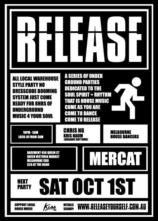 Release - Melbourne Underground House - Flyer front