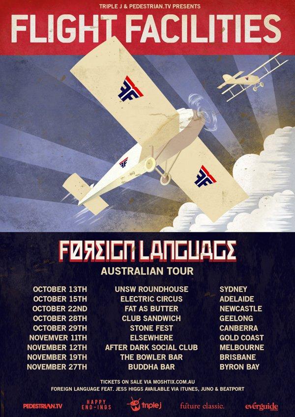 Flight Facilities 'Foreign Language Tour' - Flyer front