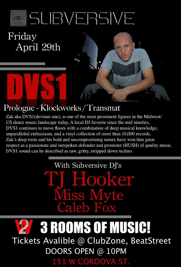 Subversive presents: Dvs1 (Hush / Prologue / Klockworks / Transmat) - Flyer front