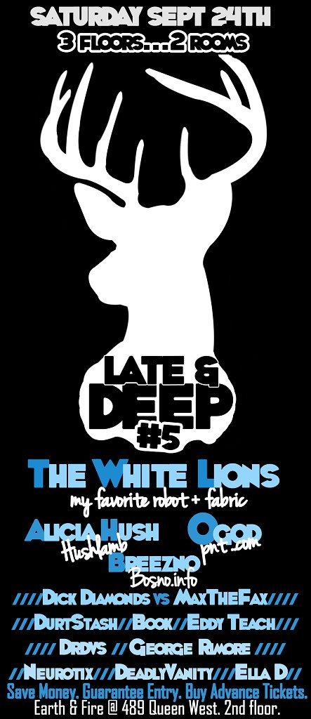       Late & Deep V       White Lions, Alicia Hush, Ogod, Breezno ... and Free Beer 4 Guests - Flyer front