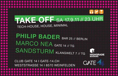'Take Off' Mit Philip Bader - Flyer front
