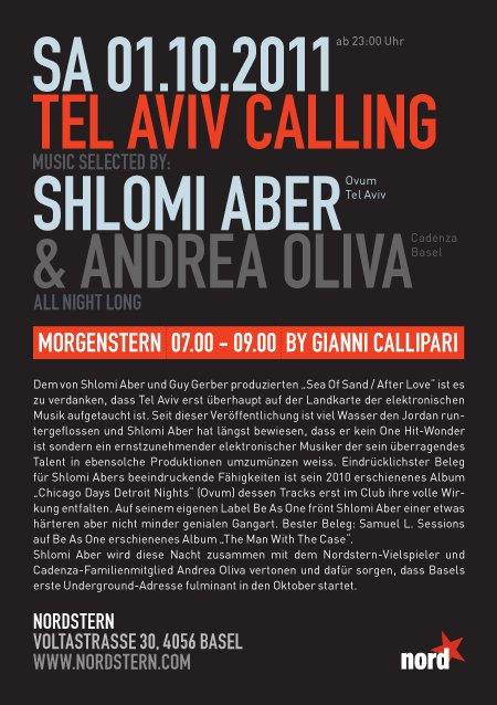 Tel Aviv Calling with Shlomi Aber - Flyer back