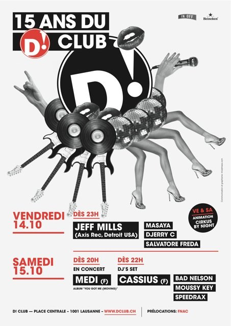 D! Club Fifteen Anniversary Week-End with Jeff Mills - Flyer front