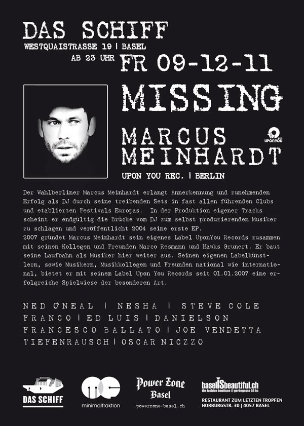 Minimal Boatbitch Project with Marcus Meinhardt - Flyer back