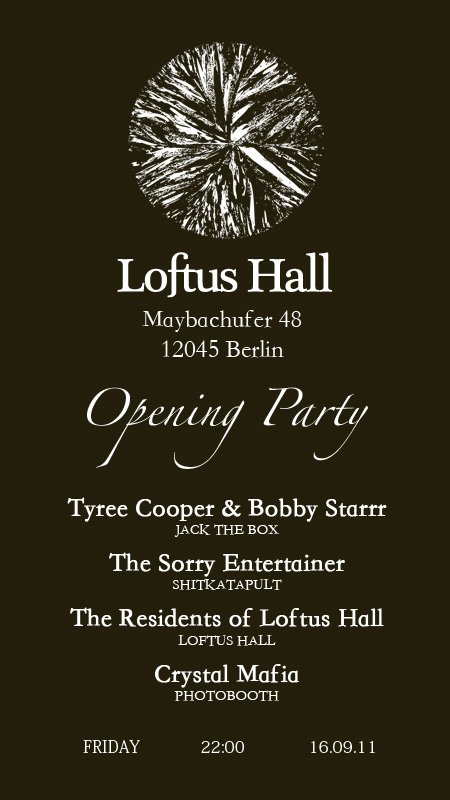 Loftus Hall Opening Party - Flyer back