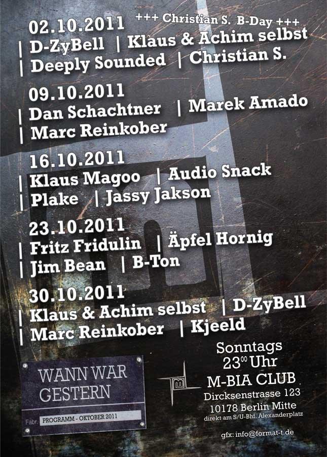 Wann War Gestern - Flyer back