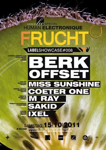 Human Electronique present Frucht Label Showcase - Flyer front