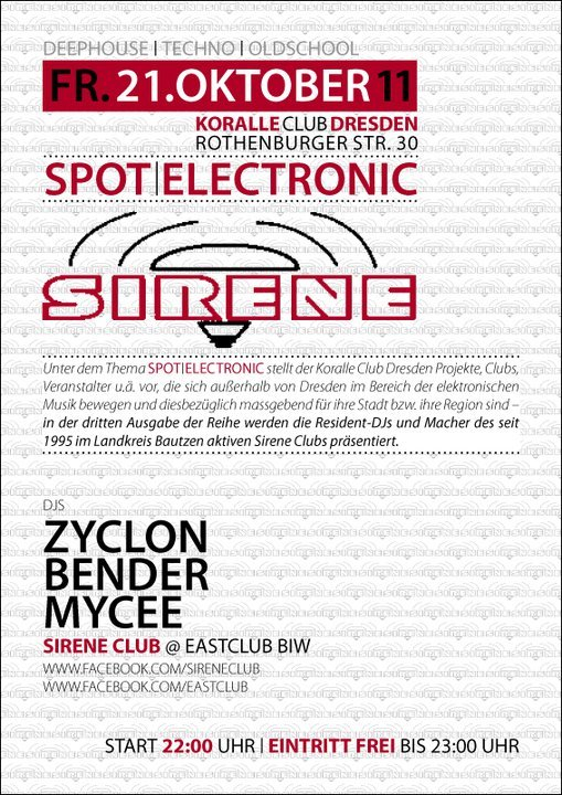 Spot-Electronic: Sirene Club - Flyer front