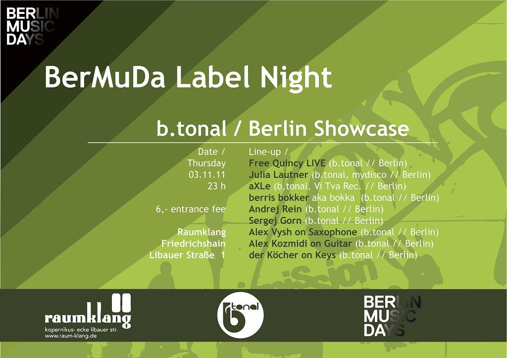 Bermuda Label Night - B.Tonal Showcase - Flyer front